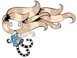 Flying little girl cartoon character, fairytale vector