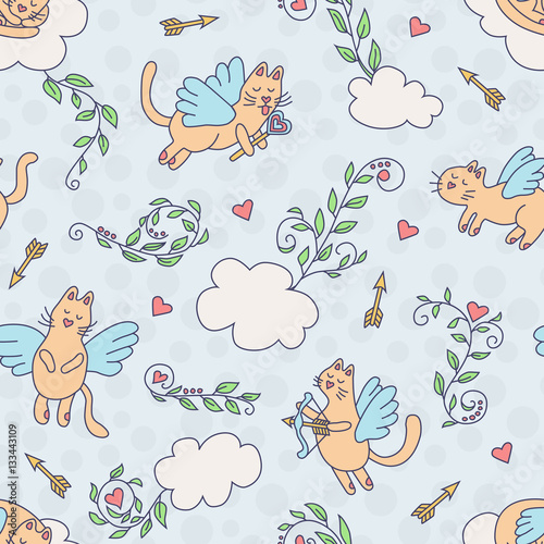 Cotton fabric Flying cats. Seamless pattern in cartoon style. Colorful