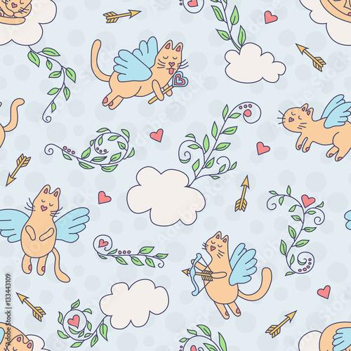 Materiał do szycia Latające koty. Wzór w stylu cartoon. Kolorowe