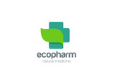 Pharmacy Logo eco cross design. Natural Organic medicine icon