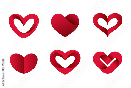 Heart shapes vector icons Valentine day love. Cardiology Medical - 133443502