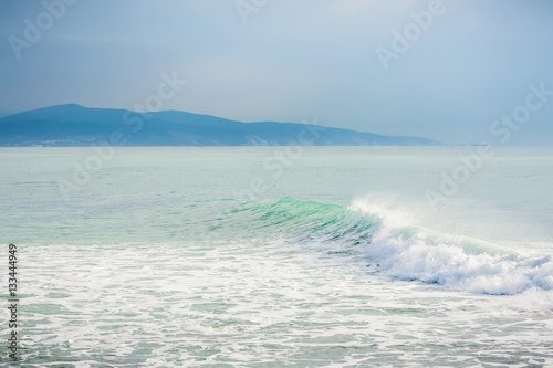 Turquoise wave in ocean. - 133444949