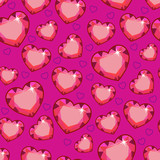 Seamless texture with pink hearts