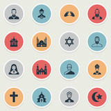 Set Of 16 Simple Religion Icons. Can Be Found Such Elements As Crucifix, Taoism, Cleric And Other.