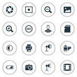 Set Of 16 Simple Photographer Icons. Can Be Found Such Elements As Cameraperson, Energy, Inkjet And Other.