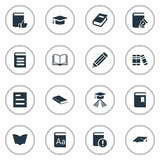 Set Of 16 Simple Reading Icons. Can Be Found Such Elements As Academic Cap, Pen, Notebook And Other. - 133447924