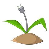 Wire plug icon, cartoon style