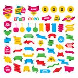 Sale price tag icons. Discount symbols.
