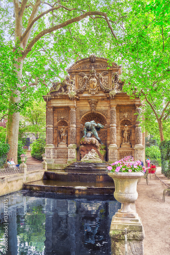 PARIS, FRANCE - JULY 08, 2016 : Medici Fountain near Luxembourg Poster