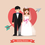 Newlyweds bride and groom wedding invitation