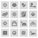 Vector line solar energy icons set