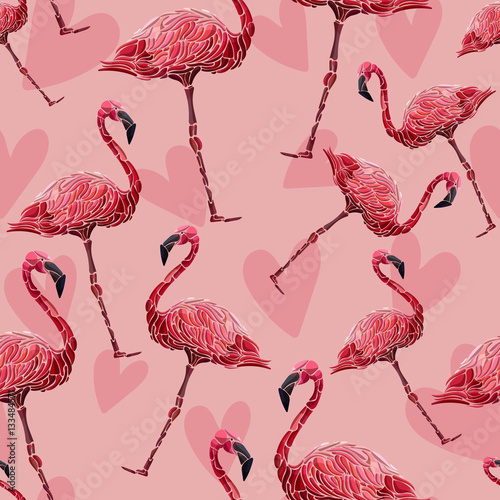 seamless pattern with flamingos and hearts