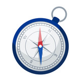 Compass icon in cartoon style isolated on white background. Rest and travel symbol stock vector illustration.