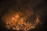 Caballos saltando hogueras de fuego en la noche de las luminarias para celebrar el día de San Antón, patrón de los animales en el pueblo de San  bartolomé de Pinares en España