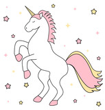 cute cartoon unicorn with pink and yellow stars vector illustration