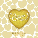 Golden realistic 3d heart with calligraphy lettering - LOVE. Philosophical idea - Quintessence of life.  Vector illustration