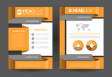 Orange brochure flyer layout template. A4 size. Front and back page. Vector background with business icons and infographic elements. Can be used for cover design, leaflet, booklet, annual report