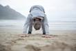 Man push-up on beach
