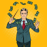 Fototapety Pop Art Businessman Conducts Money with a Baton. Vector illustration