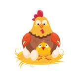 Mother And Baby Chicken In The Nest With Couple Of Eggs, Farm And Farming Related Illustration In Bright Cartoon Style