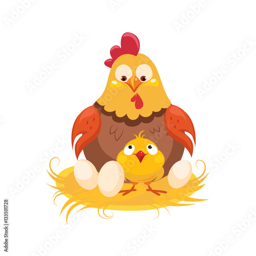 Poster Mother And Baby Chicken In The Nest With Couple Of Eggs, Farm And Farming Relate