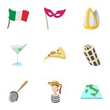 Trip to Italy icons set, cartoon style