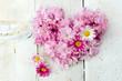 Leinwandbild Motiv Romantik, Liebe, Sehnsucht: Herz aus Margeriten und Kirschblüten auf weißem Holz :)