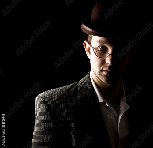 Portrait of young and attractive gentleman in tero style wearing Poster