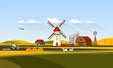Colorful Flat Design of Agricultural Rural Landscape, Vector Illustration.
