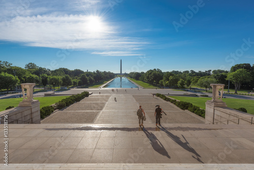 Bright sunrise at dawn reflects Washington Monument in new reflecting pool by Lincoln Memorial Poster