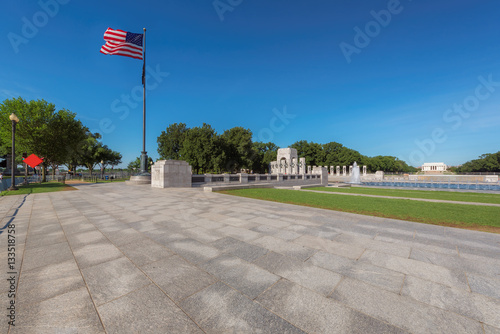 View the War memorial and the Lincoln memorial on a summer morning, Washington DC Poster