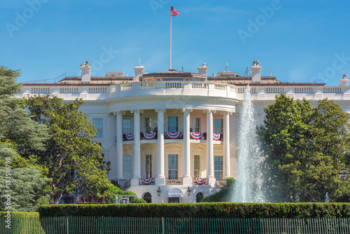 The White House in Washington DC with beautiful blue sky at summer Poster