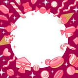 Different sweets. Assorted candies round frame background.