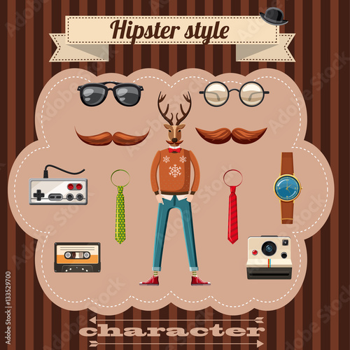 Hipster style attributes concept, cartoon style