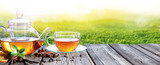 Tea Time With Plantation Of Tea Background