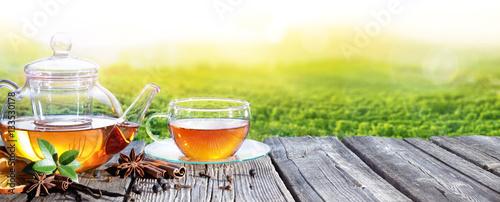 Czas Herbaty Z Plantacji Tle Herbaty