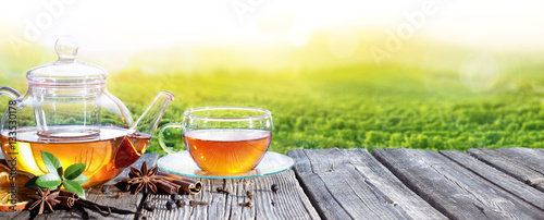 Tea Time With Plantation Of Tea Background