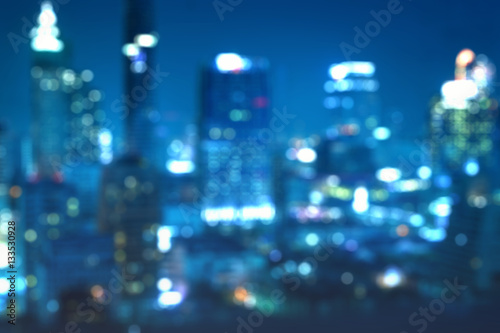 abstract blur background of night cityscape bokeh - can use to display or montage on product - 133530928