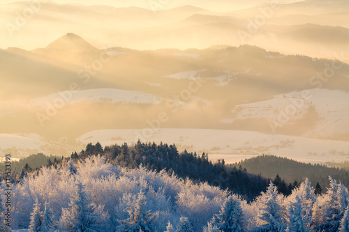 Mountain valley panorama during sunrise. Beautiful natural panoramic landscape in winter time. - 133533393