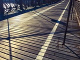 walkway of Brooklyn bridge in vintage style, New York - 133538709