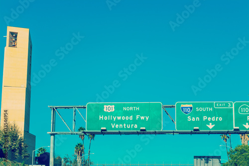 Poster Hollywood freeway sign by Cathedral of Our Lady of Angels steepl