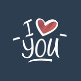 I Love You hand drawn sign. Vector illustration.