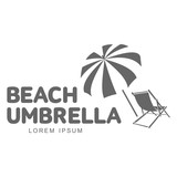 Fototapety Logo template with beach umbrella and sun bathing lounge chair, vector illustration isolated on white background. Black and white graphic logotype, logo template with sunbathing chair and umbrella