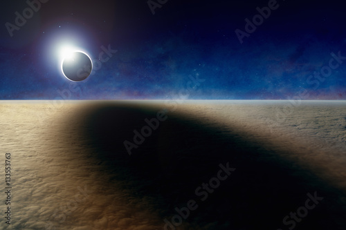 Foto op Canvas UFO Amazing aerial view of total solar eclipse