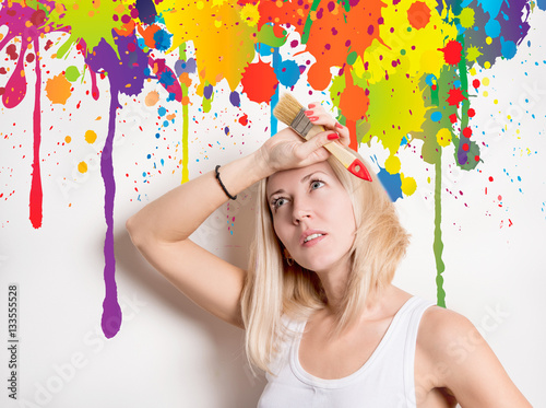 Poster woman in the midst of colorful streaks