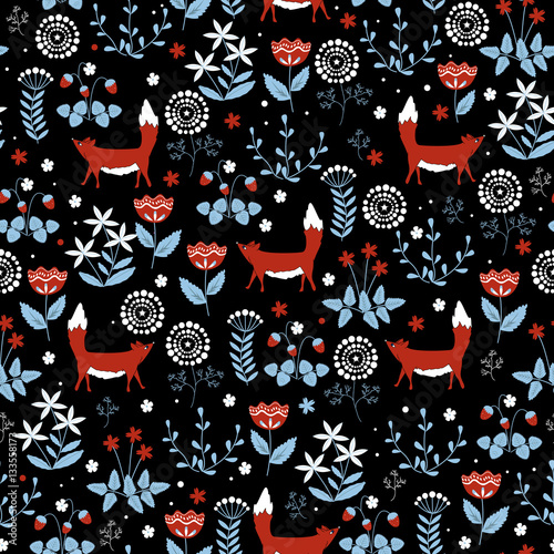 Cotton fabric Seamless pattern with cute red foxes on doodle flower background