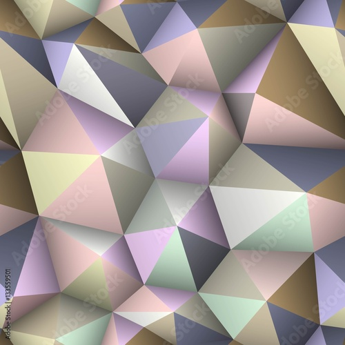 Colorful triangle seamless low-poly background. - 133559501