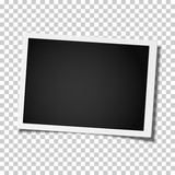 Fototapety Retro realistic vector photo frame placed on transparen background. Template photo design.