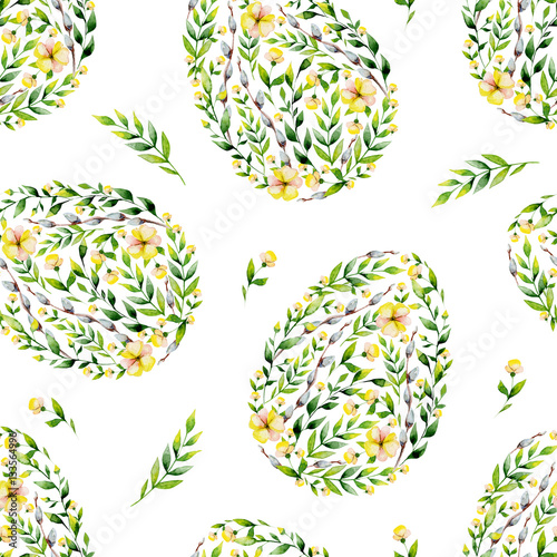 Materiał do szycia Watercolor yellow seamles flower and herbs Easter egg pattern. May be used for Easter textile decoration print, invitation card, spring decor, wrapping paper and window decoration.