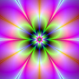 Neon Flower / A digital abstract fractal image with a neon flower design in green, pink and blue. - 133568168